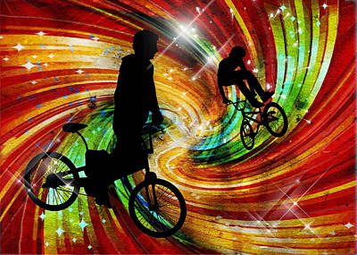 Bmxers In Red And Orange Grunge Swirls Print by Elaine Plesser