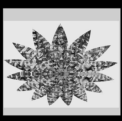Photograph - Bnw Black N White Star Ufo Art  Sprinkled Crystal Stone Graphic Decorations Navinjoshi  Rights Manag by Navin Joshi