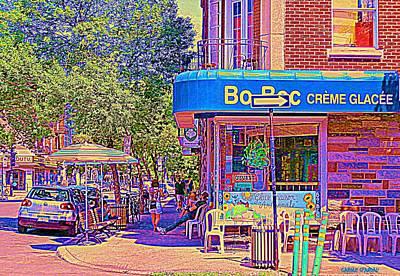 Painting - Bo Bec Creme Glacee Ice Cream Shop Laurier Montreal Springtime Cafe Scene By Carole Spandau by Carole Spandau