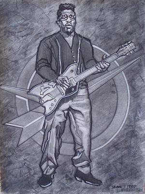 Drawing - Bo Diddley - Have Guitar Will Travel by Sean Connolly
