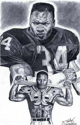 Hall Of Fame Drawing - Bo Jackson by Jonathan Tooley