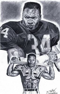 Bo Jackson Drawings Drawing - Bo Jackson by Jonathan Tooley