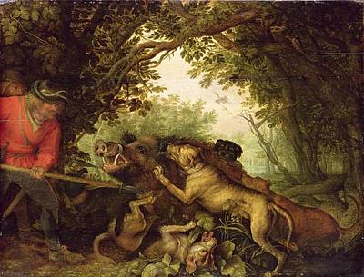 Wild Animals Painting - Boar Hunt, 1611 by Roelandt Jacobsz. Savery