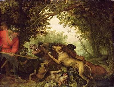 Killing Painting - Boar Hunt, 1611 by Roelandt Jacobsz. Savery