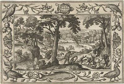 Wood Table Drawing - Boar Hunt, Adriaen Collaert, Eduwart Hoes Winckel by Adriaen Collaert And Eduwart Hoes Winckel