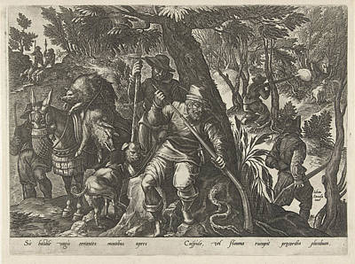 Dead Tree Drawing - Boar Hunting With Guns, Philips Galle by Philips Galle