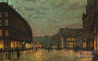 Lamplight Painting - Boar Lane Leeds By Lamplight by Celestial Images