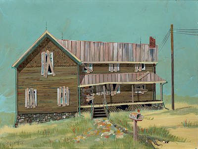 Mailbox Painting - Boarded Up House by John Wyckoff
