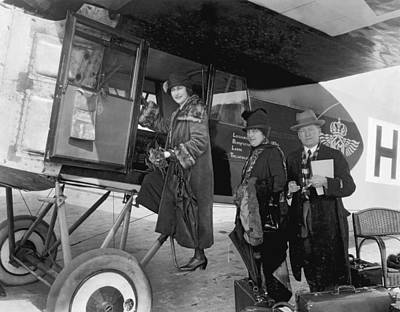 Self Photograph - Boarding Fokker Airplane by Underwood Archives
