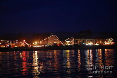 Santa Cruz Boardwalk At Night Art Print by Debra Thompson