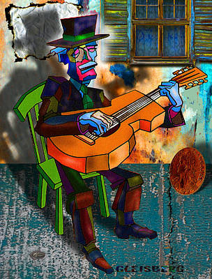 Verlyn Dean Gleisberg Mixed Media - Boardwalk Bard by Dean Gleisberg