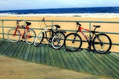 Asbury Park Painting - Boardwalk Bikes by RC deWinter