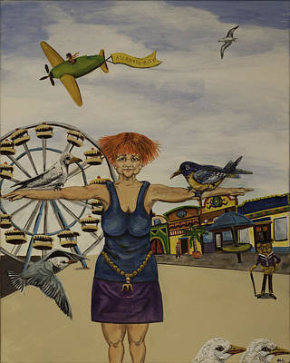 Painting - Boardwalk Birdwoman by Susan Culver