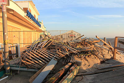 Photograph - Boardwalk Destruction  by Mary Haber