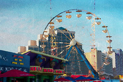 Boardwalk Ferris  Art Print