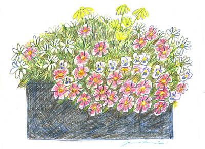 Drawing - Boardwalk Flower Box by Jean Pacheco Ravinski