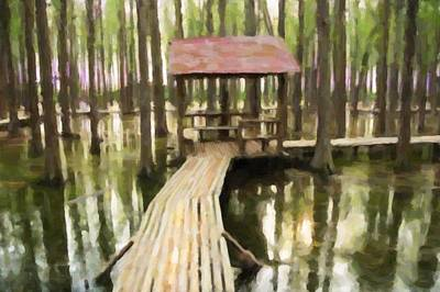 Wooden Stairs Painting - Boardwalk In The Forest by Lanjee Chee
