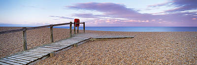 Boardwalk On The Beach At Dawn, Chesil Print by Panoramic Images