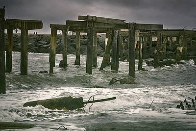 Tropical Storm Photograph - Boardwalk Remnants by Joan Carroll