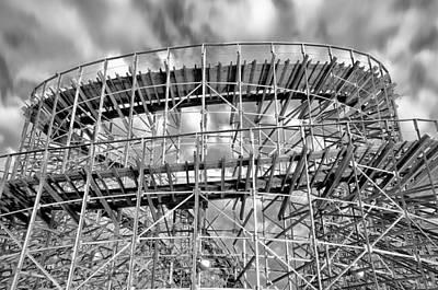 Rollercoaster Digital Art - Boardwalk Rollercoaster In Wildwood In Black And White by Bill Cannon
