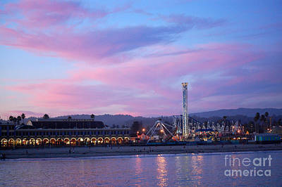 Blue Pirate Ships Landscape Photograph - Santa Cruz Beach Boardwalk Pink Sunset by Debra Thompson