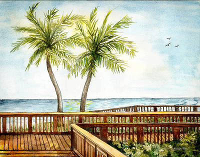 Boardwalk With Two Palms Art Print