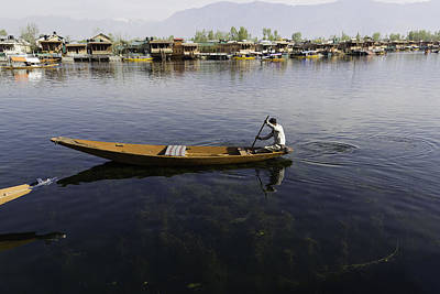 Boat Among The Weeds - Man Rowing His Boat In The Dal Lake Art Print by Ashish Agarwal