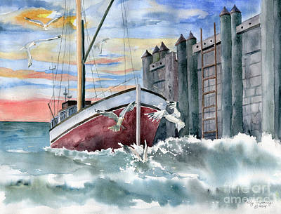 Painting - Boat And Gulls by Melly Terpening