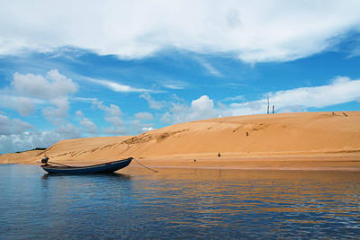 Canoe Photograph - Boat And Sand Dune Along The Preguicas by Keren Su