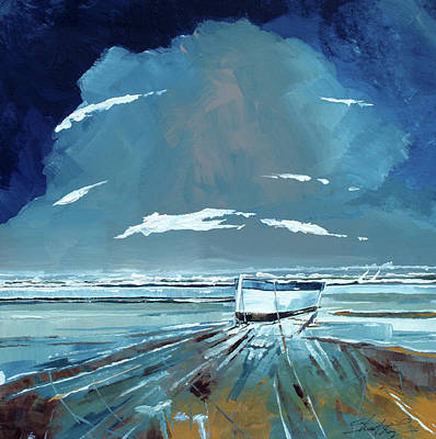 Beach Oil Painting - Boat And Sea by Stuart Roy