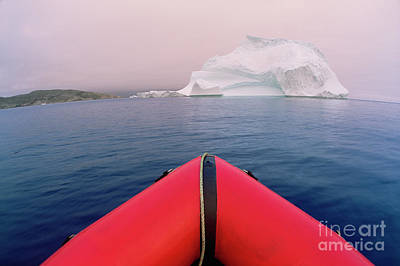 Photograph - Boat And Summer Iceberg by Yva Momatiuk John Eastcott
