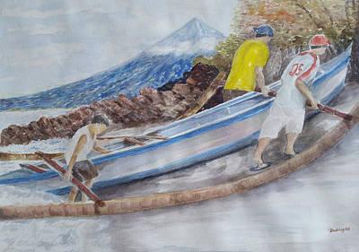 Mayon Volcano Photograph - Boat Ashore by Sonia Rodriguez
