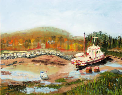 Art Print featuring the painting Boat At Bic Quebec by Michael Daniels