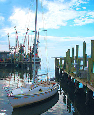 Boat At Dock By Jan Marvin Art Print