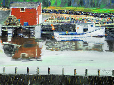 Water Bouys Painting - Boat At Louisburg Ns by Michael Daniels