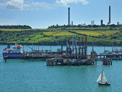 Boat At Refinary In Milford Haven Art Print
