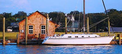 Boat At Shem Creek By Jan Marvin Art Print