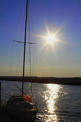 Dock Photograph - Boat At Sunset by Cathy Lindsey
