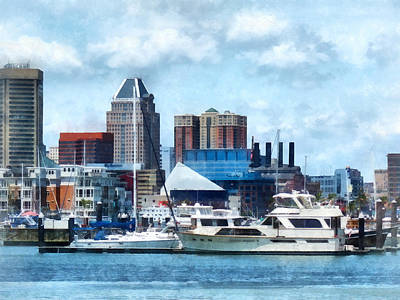 Photograph - Boat - Baltimore Skyline And Harbor by Susan Savad