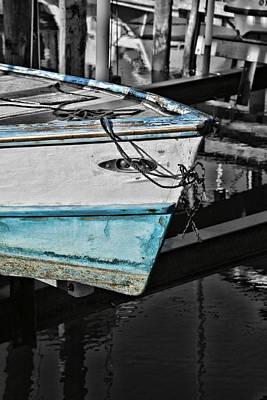 Boat Bow In Black White And Blue Art Print by Lynn Jordan