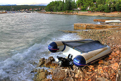 Photograph - Boat Crashed On The Sea Shore After Strong Storm by Brch Photography