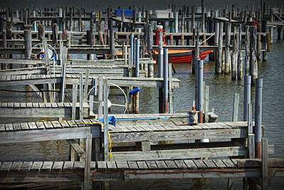 Abstract Seascape Photograph - Boat Docks In Lake Macatawa by Randall Nyhof