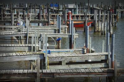 Randall Nyhof Royalty Free Images - Boat Docks in Lake Macatawa Royalty-Free Image by Randall Nyhof