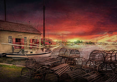 Boat - End Of The Season  Art Print by Mike Savad