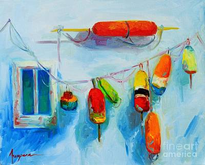 Warm Colors Painting - Colorful Buoys 2 by Patricia Awapara