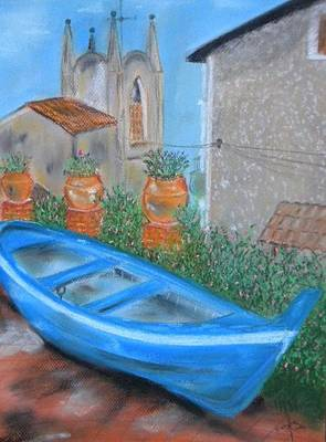 Amy Hamilton Animal Collage Rights Managed Images - Boat front of the house Sicily Royalty-Free Image by Igor Kotnik
