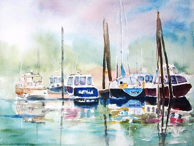 Painting - Boat Harbor In Fog by Carlin Blahnik