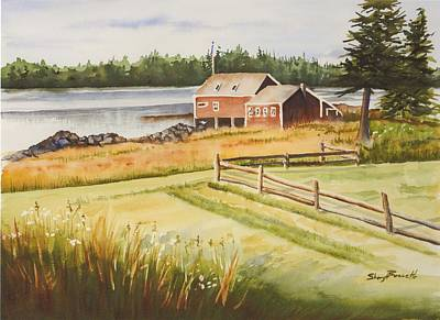 Boat House On Penobscot Bay Print by Sheryl Bessette