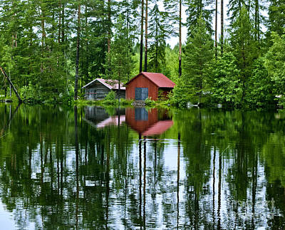 Boat House On Swedish Lake Art Print by Micah May