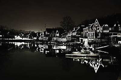 Boathouse Row Digital Art - Boat House Row - In The Dark Of Night by Bill Cannon